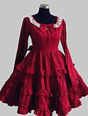 رخيصةأون الأزياء التنكرية التاريخية والقديمة-أميرة الحلوه لوليتا نسائي فساتين تأثيري أحمر كم طويل طول الركبة ازياء