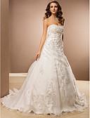 povoljno Vjenčanice-A-kroj Bez naramenica Dugi šlep Organza Izrađene su mjere za vjenčanja s Perlica / Aplikacije po LAN TING BRIDE®