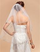 cheap Wedding Veils-Two-tier Lace Applique Edge Wedding Veil Elbow Veils with Appliques 33.46 in (85cm) Tulle A-line, Ball Gown, Princess, Sheath / Column, Trumpet / Mermaid / Classic