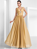 economico Vestiti da sera-Linea-A A V Lungo Chiffon Serata formale Vestito con Spilla di cristallo / Con ruche di TS Couture®