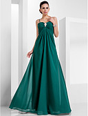 cheap Bridesmaid Dresses-A-Line Spaghetti Strap Floor Length Chiffon Formal Evening Dress with Crystal Brooch by TS Couture®