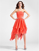 cheap Cocktail Dresses-A-Line / Princess Strapless Knee Length / Asymmetrical Chiffon High Low Cocktail Party Dress with Draping / Cascading Ruffles / Ruched by TS Couture®