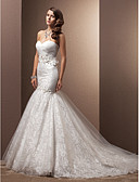 cheap Wedding Dresses-Mermaid / Trumpet Sweetheart Neckline Chapel Train Organza / Floral Lace Made-To-Measure Wedding Dresses with Beading / Appliques / Criss-Cross by LAN TING BRIDE®