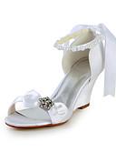 cheap Wedding Dresses-Women's Shoes Satin / Stretch Satin Spring / Summer Wedge Heel Rhinestone / Bowknot / Imitation Pearl Pink / Champagne / Ivory / Wedding