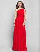 ราคาถูก ชุดราตรี-ชีท / คอลัมน์ ไหล่เดียว ลากพื้น ชิฟฟอน Prom / ทางการ แต่งตัว กับ ของประดับด้วยลูกปัด / จีบ / จีบข้าง โดย TS Couture®