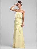 cheap Bridesmaid Dresses-Sheath / Column Strapless Floor Length Chiffon Bridesmaid Dress with Cascading Ruffles / Ruffles by LAN TING BRIDE®