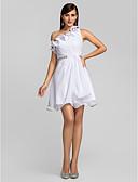 billige Aftenkjoler-A-linje Enskuldret Kort / mini Chiffon Cocktailfest Kjole med Perledetaljer / Krystallbrosje / Drapert av TS Couture®