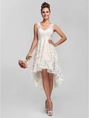 preiswerte Brautjungfernkleider-A-Linie / Prinzessin V-Ausschnitt Asymmetrisch Hauchzarte Spitze Brautjungfernkleid mit Spitze / Plissee durch LAN TING BRIDE® / See Through