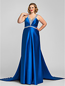 cheap Evening Dresses-A-Line V Neck / Halter Neck Floor Length Satin Open Back Formal Evening Dress with Beading / Crystals / Side Draping by TS Couture®