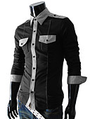 cheap Men's Tops-Men's Daily Shirt, Color Block Long Sleeves Cotton Polyester