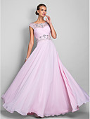 cheap Prom Dresses-A-Line Illusion Neck Floor Length Chiffon Open Back Prom / Formal Evening Dress with Beading / Criss Cross by TS Couture®
