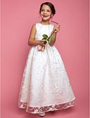hesapli Çiçekçi Kız Elbiseleri-A-Şekilli / Prenses Taşlı Yaka Yere Kadar Dantelalar Kurdeleler ile Çiçekçi Kız Elbisesi tarafından LAN TING BRIDE®