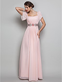 Χαμηλού Κόστους Βραδινά Φορέματα-Ίσια Γραμμή Τετράγωνη Λαιμόκοψη Μακρύ Σιφόν Ανοικτή Πλάτη Χοροεσπερίδα / Επίσημο Βραδινό Φόρεμα με Χάντρες / Που καλύπτει με TS Couture®