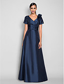 cheap Mother of the Bride Dresses-A-Line V Neck Floor Length Taffeta Prom / Formal Evening Dress with Side Draping / Ruched / Flower by TS Couture®