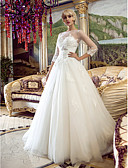 cheap Wedding Dresses-A-Line Princess Illusion Neckline Court Train Tulle Wedding Dress with Beading Appliques Sash / Ribbon by LAN TING BRIDE®
