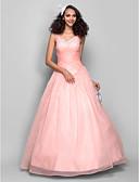 ieftine Rochii de Seară-Haine Bal Prințesă Curele de Lungime Podea Organza Bal / Seară Formală Rochie cu Mărgele Pliuri Cruce de TS Couture®