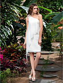 cheap Prom Dresses-Sheath / Column One Shoulder Short / Mini Chiffon Made-To-Measure Wedding Dresses with Flower by LAN TING BRIDE® / Little White Dress