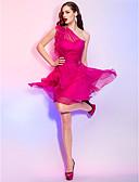 baratos Vestidos de Coquetel-Linha A Assimétrico Curto / Mini Chiffon Frente Única / Transparente Coquetel Vestido com Detalhes em Cristal / Fru-Fru de TS Couture®