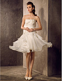 cheap Mother of the Bride Dresses-A-Line / Princess Strapless Knee Length Organza Made-To-Measure Wedding Dresses with Beading / Appliques / Ruched by LAN TING BRIDE® / Little White Dress