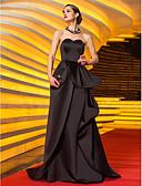 baratos Vestidos de Noite-Linha A Decote Princesa Cauda Escova Cetim Estilo Celebridade / Inspiração Vintage Baile de Formatura / Evento Formal Vestido com Apliques / Faixa / Fita / Pregas de TS Couture®