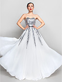 cheap Mother of the Bride Dresses-A-Line Sweetheart Neckline Floor Length Chiffon / Sequined Sparkle & Shine Prom / Formal Evening Dress with Sequin / Sash / Ribbon by TS Couture®