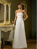 cheap Wedding Dresses-Sheath / Column Strapless Floor Length Satin Made-To-Measure Wedding Dresses with Draping / Pocket by LAN TING BRIDE®