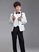 levne Pro malé družby-Bílá Černá Směs polyesteru a bavlny Oblek pro mládence - 6 Obsahuje Sako Vesta Tričko Kalhoty Šle Motýlek