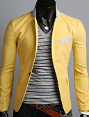 cheap Men's Downs & Parkas-OTS Men's Korean Casual One Buckle Blazer(Yellow)