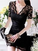 abordables Ropa de Cama de Mujer-Mujer Noche Sofisticado Corte Bodycon / Encaje Vestido Un Color Mini Escote en Pico / Verano / Pitillo