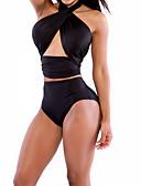 cheap Bikinis-Women's Solid Cross Halter Neck Black Bikini Swimwear - Solid Colored M L XL Black / Wireless / Padless / Beach / Sexy