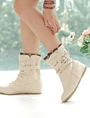 cheap Leggings-Women's Shoes Leatherette Fall / Winter Low Heel 15.24-20.32 cm / Mid-Calf Boots Buckle White / Pink / Beige