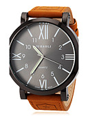 baratos Aço Inoxidável-JUBAOLI Homens Relógio de Pulso Relógio Casual Couro Banda Amuleto Marrom / SSUO LR626