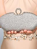 hesapli Gelin Şalları-Kadın's Çantalar Metal Gece Çantası Kristaller / Yapay Elmaslar için Davet / Parti İlkbahar, Sonbahar, Kış, Yaz Altın / Siyah / Gümüş / Düğün Çantaları / Düğün Çantaları