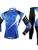 tanie Stroje rowerowe-FJQXZ Męskie Długi rękaw Koszulka i spodnie na rower - Niebieski Rower Zestawy odzieży, Odporność na wiatr, Oddychający, Wkładka 3D, Keep Warm, Szybkie wysychanie Siateczka Linie / fale