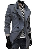 cheap Men's Jackets & Coats-Men's Daily Fall Regular Coat, Solid Colored Long Sleeve Wool / Rayon / Polyester Black / Dark Gray / Light gray L / XL / XXL / Slim