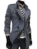 olcso Férfi dzsekik és kabátok-Vékony Férfi Kabát - Egyszínű Gyapjú / Hosszú ujj