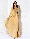 cheap Mother of the Bride Dresses-A-Line V Neck Floor Length Chiffon Mother of the Bride Dress with Beading / Sequin / Crystals by LAN TING BRIDE® / Sparkle & Shine
