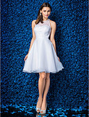 cheap Cocktail Dresses-A-Line / Princess Jewel Neck Knee Length Organza Cocktail Party Dress with Beading / Pearls by