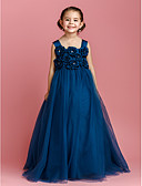 cheap Flower Girl Dresses-Ball Gown Floor Length Flower Girl Dress - Satin / Tulle Sleeveless Straps with Bow(s) / Crystals / Flower by LAN TING BRIDE® / Spring / Summer / Fall