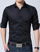 رخيصةأون بنطلونات و شورتات رجالي-رجالي قطن قميص ياقة كلاسيكية - الأعمال التجارية / كاجوال لون سادة, عمل / كم طويل / الربيع / الخريف