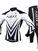 cheap Cycling Pants, Shorts, Tights-FJQXZ Men's Long Sleeves Cycling Jersey with Tights - Black/White Bike Clothing Suits, 3D Pad, Quick Dry, Ultraviolet Resistant,