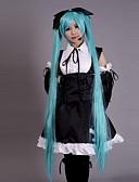 hesapli Çoraplar-Esinlenen Vocaloid Hatsune Miku Video oyun Cosplay Kostümleri Cosplay Takımları Elbiseler Kırk Yama Kolsuz Elbise Başlık Kollar