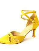 preiswerte Damen Kleider-Damen Schuhe für modern Dance / Ballsaal Satin Absätze Strass / Schnalle Maßfertigung Tanzschuhe Bronze / Rosa / Blau / Leder