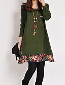 זול שמלות נשים-עד הברך דפוס, פרחוני - שמלה משוחרר יום יומי / סגנון סיני בגדי ריקוד נשים