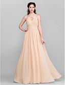 cheap Women's Dresses-A-Line Jewel Neck Floor Length Chiffon Bridesmaid Dress with Draping / Sash / Ribbon / Side Draping by LAN TING BRIDE®