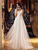 Χαμηλού Κόστους Νυφικά-Πριγκίπισσα Λεπτές Τιράντες Ουρά Σιφόν Φορέματα γάμου φτιαγμένα στο μέτρο με Χάντρες / Που καλύπτει / Λουλούδι με LAN TING BRIDE® / Με Όμορφη Πλάτη