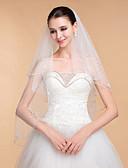 cheap Wedding Veils-Two-tier Beaded Edge Wedding Veil Chapel Veils with 35.43 in (90cm) Tulle