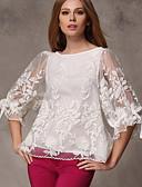 preiswerte Damen Pullover-Damen Solide Bluse Schleife Gitter Lantern Sleeve