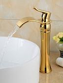 cheap Women's Nightwear-Bathroom Sink Faucet - Waterfall Ti-PVD Widespread One Hole Single Handle One Hole