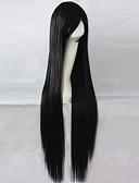 halpa Naisten yläosat-Synteettiset peruukit Suora Epäsymmetrinen leikkaus Synteettiset hiukset Luonnollinen hiusviiva Musta Peruukki Naisten Pitkä Suojuksettomat